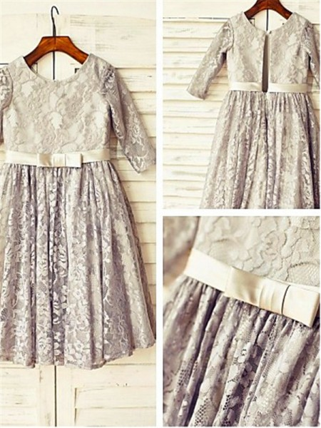 A-line/Princess Scoop 3/4 Sleeves Floor-Length Lace Flower Girl Dresses